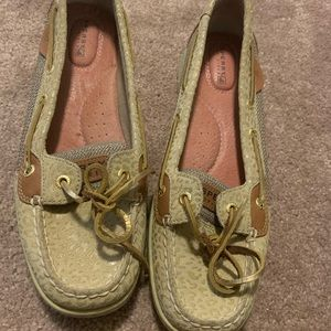 Sperry boat shoes with leopard imprint